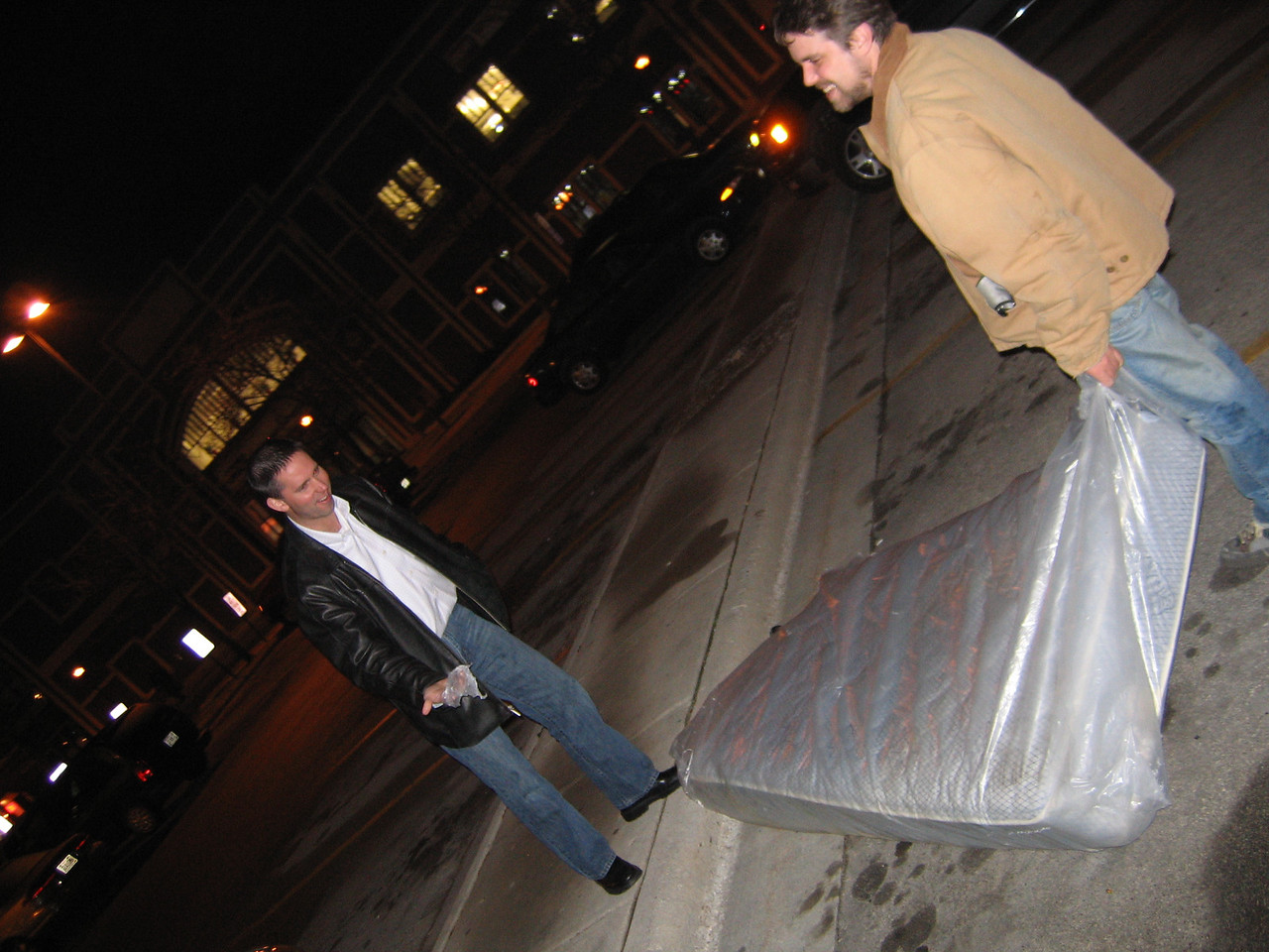 On the way back, we found a twin mattress on the road (still in its plastic seal.)