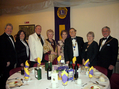 The top table at te Isle of Axholme Lions 39th charter dinner held in the Haxey Memorial Hall, guest speaker Ian Cawsey MP, Linda Cawsey, Past District Lions Governor Steve Bird, Su Bird, Pauline Ridley, Isle Lions President Colin Ridley, Mayoress of North Linconshire Jennie Eckhardt and Mayor of North LIncolnshire Coun William Eckhardt.