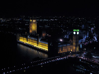 View of the Palace of Westminster (Houses of Parliament) from The London Eye