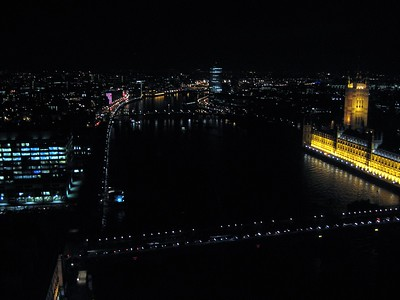View of the River Thames  and the Palace of Westminster (Houses of Parliament) from The London Eye