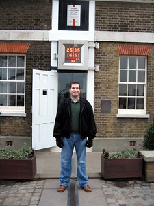 Craig on the Prime Meridian, at Zero Longitude.  My right foot is in the Eastern Hemisphere, and my left foot is in the Western Hemisphere.