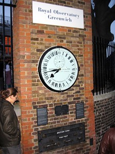 The Shepard Gate Clockat the Royal Observatory, Greenwich, likely the first clock to display Greenwich Mean Time to the public.