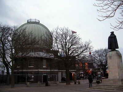The Royal Observatory, Greenwich.  Note the orange Time Ball, which has dropped every day at 1pm since 1833.