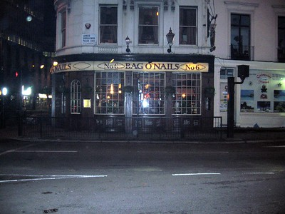 The Bag O'Nails club, which I only photographed because it reminded me of this Saturday Night Live sketch, but which it turns out was a famous rock hangout in the 1960s and where Paul McCartney met Linda Eastman.