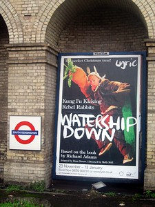 Billboard for Watership Down at the South Kensington Tube Station