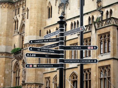 Street signs in downtown London