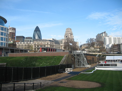 """View of London from the Tower moat.  In the background is 30 St Mary Axe, known as """"The Gherkin."""""""