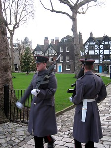 Members of the Royal Logistic Corps of the British Army patrol the Tower grounds