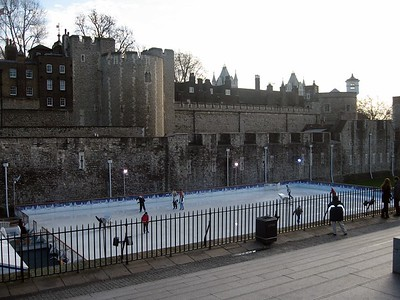 The Tower moat, which has been filled, now includes a public ice rink.