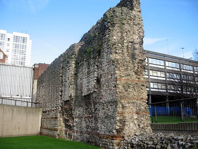 Remains of the London Wall, built by the Romans in the 2nd Century.