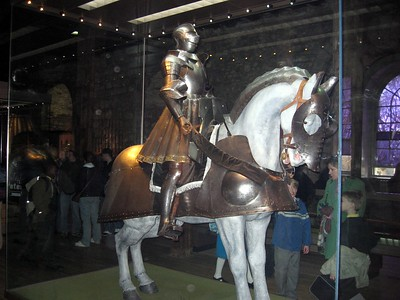 A suit of armor in the Royal Armouries, located in the White Tower.  Open to the public since 1660, it is the oldest museum in the United Kingdom.