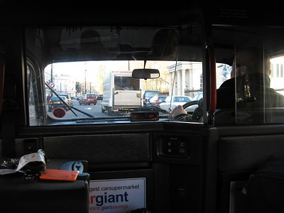 Inside a hackney carriage (black cab)
