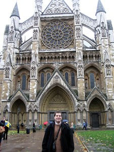 Craig in front of the Collegiate Church of St Peter, Westminster (a.k.a. Westminster Abbey)