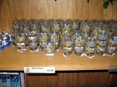 Shot glasses in the church gift shop