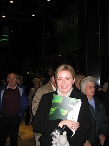 Sarah at the London production of Wicked, at the Apollo Victoria Theatre