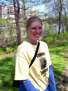 Rachel mid-walk