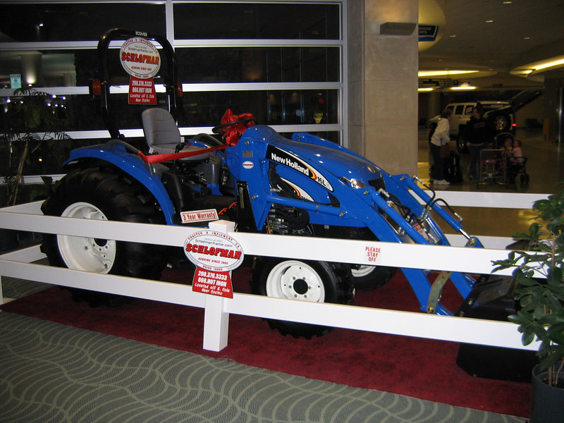 This welcomed us in the airport.  The lawnmower tractor!