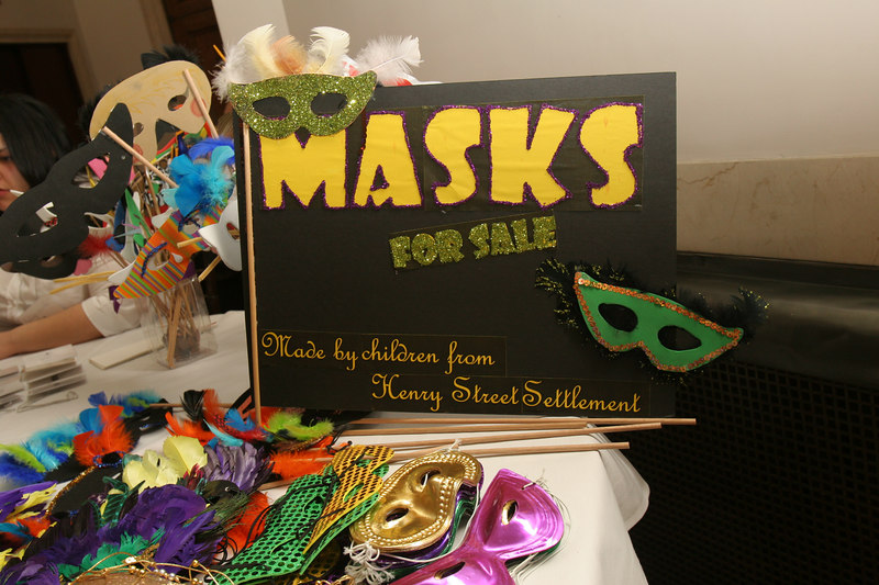 "Masks made by the children from <a href=""http://www.henrystreet.org"">Henry Street Settlement</a>"