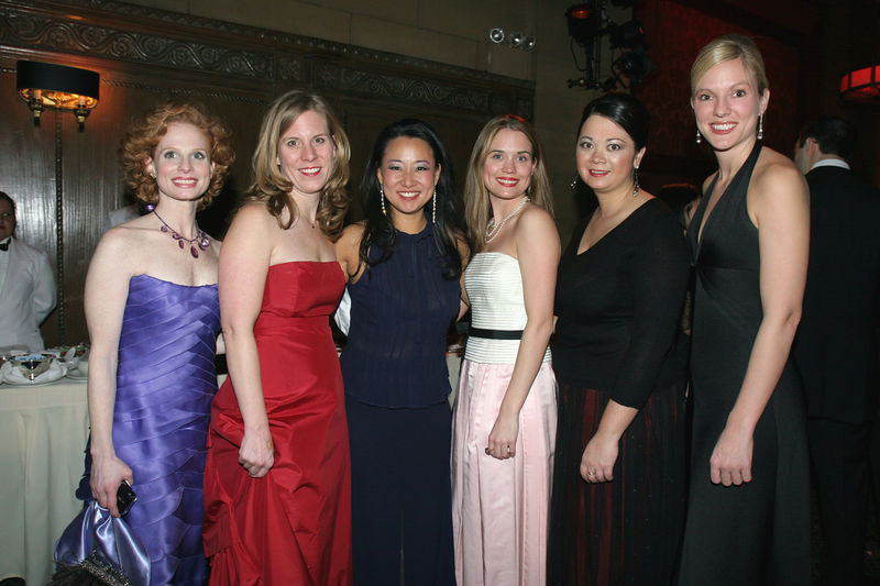 """NEW YORK-MARCH 4: NYJL Winter Ball Volunteers Stacy Zimring, Karen Dean, Karalesa Grier, Alessandra Murata & Vicki Rideout with Soo Won Hwang, NYJL Development Vice President, 2004-2006 (center)  attend NEW YORK JUNIOR LEAGUE'S 54th Annual Winter Ball, """"Circo""""  at Cipriani 42nd Street, 110 East 42nd Street, New York City, New York on Friday, March 4, 2006 (Photo Credit: Christopher London/ManhattanSociety.com)"""