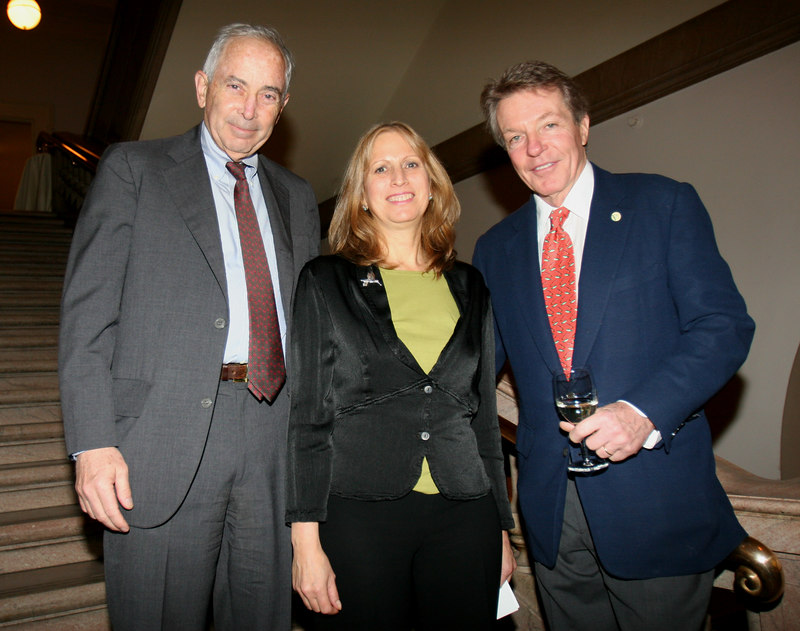 """Louise Mirrer (NY Historical Society President) with the directors of <a href=""""http://fdncenter.org/cgi-bin/findershow.cgi?id=SHAR009"""">The Peter Jay Sharp Foundation</a> Edmund Duffy and Dan Lufkin at the Opening Reception and Preview of Audobon's Aviary at the <a href=""""http://www.nyhistory.org"""">New York Historical Society</a>"""