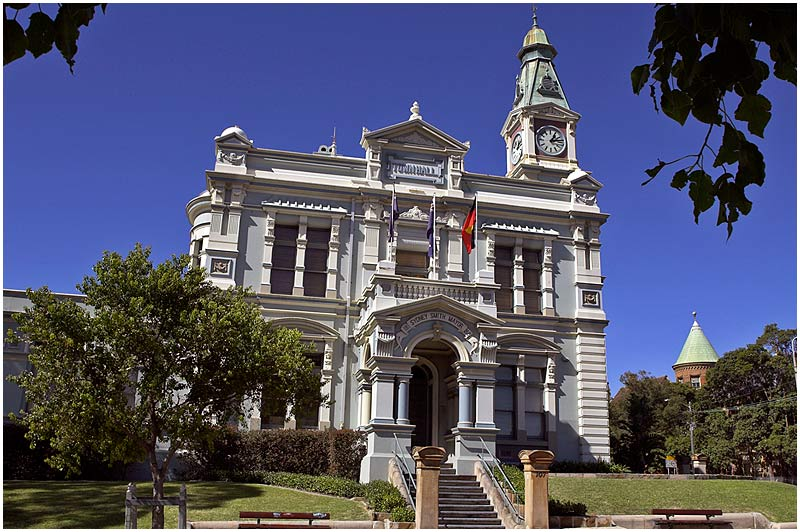 Norton Street, Leichhardt, Monday May 29th 2006. <br /> <br /> Leichhardt Town Hall, a Victorian Neo-Classical design, was built in 1888. <br /> <br /> <br /> EXIF DATA <br /> Canon 1D Mk II. EF 17-35 f/2.8L@17mm 1/125s f/18 ISO 200.