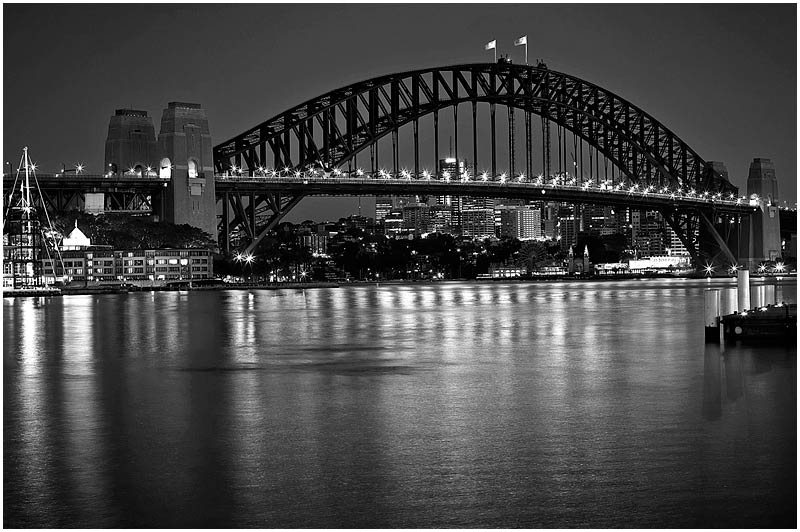 Sydney Harbour Bridge, Wednesday May 10th 2006. <br /> <br /> Just before sunrise. <br /> <br /> EXIF DATA <br /> Canon 1D Mk II. EF 50mm f1.4, 8.0s f/8 ISO 200.