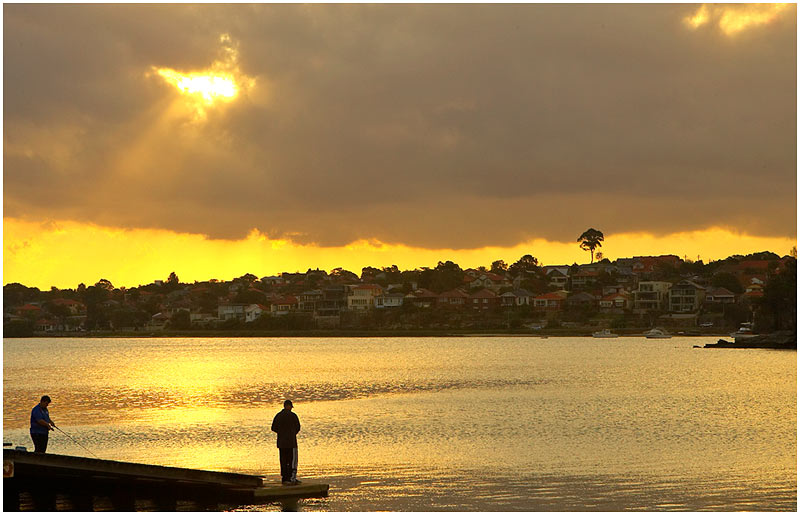 Iron Cove, Rozelle, Saturday May 20th 2006. <br /> <br /> Fishing at sunset. <br /> <br /> <br /> EXIF DATA <br /> Canon 1D Mk II. EF 24-70mm f/2.8L@66mm 1/250s f/13 ISO 200.