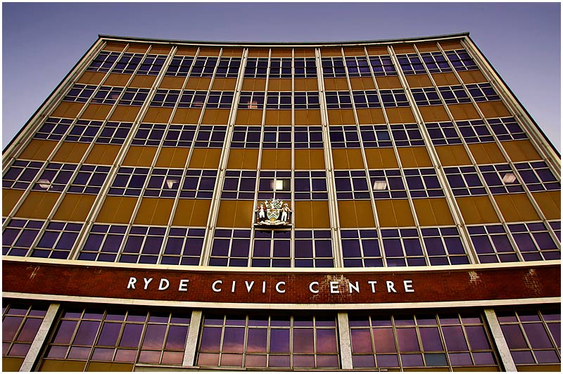 Devlin Street, Ryde, Monday May 22nd 2006. <br /> <br /> Ryde Civic Centre. <br /> <br /> <br /> EXIF DATA <br /> Canon 1D Mk II. EF 17-35 f/2.8L@17mm 1/40s f/8 ISO 200.