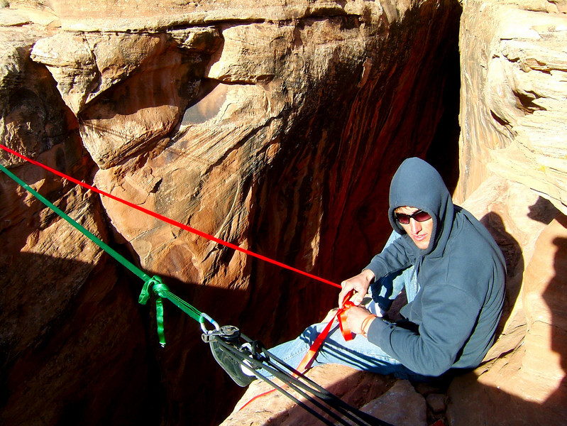 Rob lends a hand in the rigging of the Birthday Gap highline.