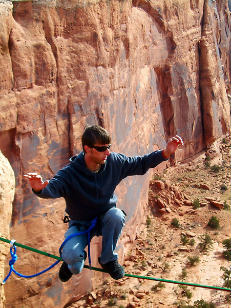 A low stance for Rob on the Birthday Gap highline.