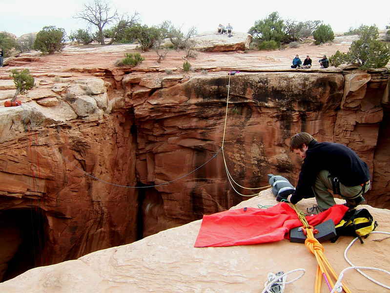 Dylan and I rigged a rope jump into the Dog Hole, a round opening at the end of Bull Canyon about ninety feet across and ninety feet deep.