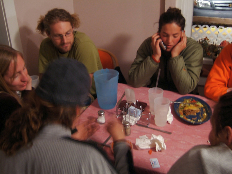 Climbers and highliners gather at a local Mexican restaurant for dinner before the rigging of the lines.
