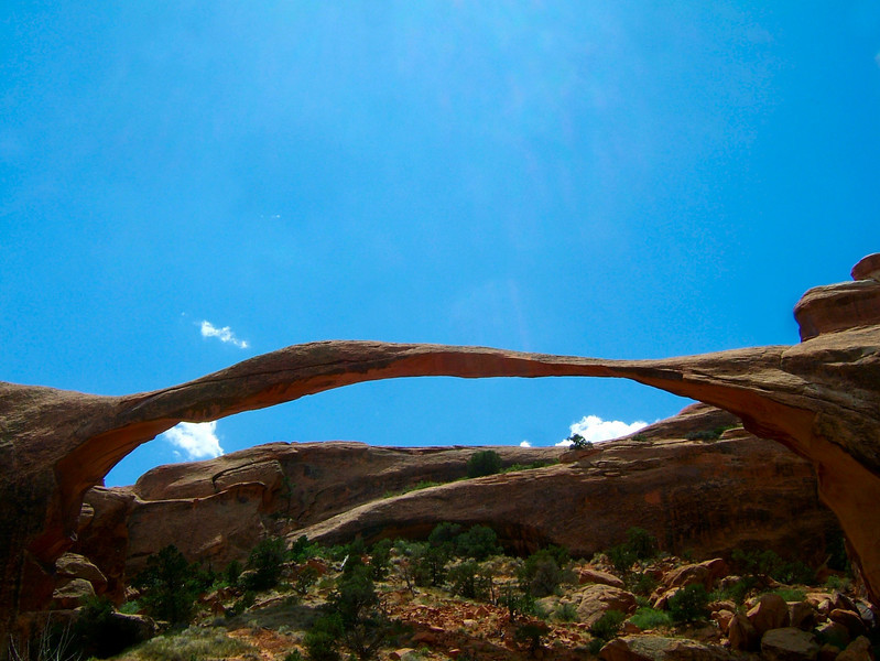 Our travels brought us to Moab, Utah, the center for everything outdoors.  We crashed with our friend Larry who, although he was working while we were there, offered us great beta on local climbs and sights.  Above is Landscape Arch in Arches National Park.
