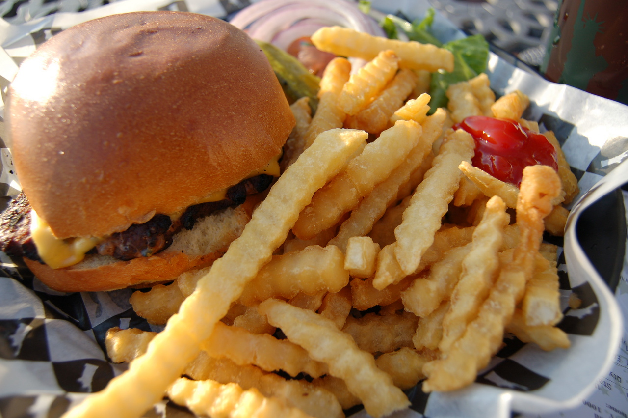 Small burger and fries