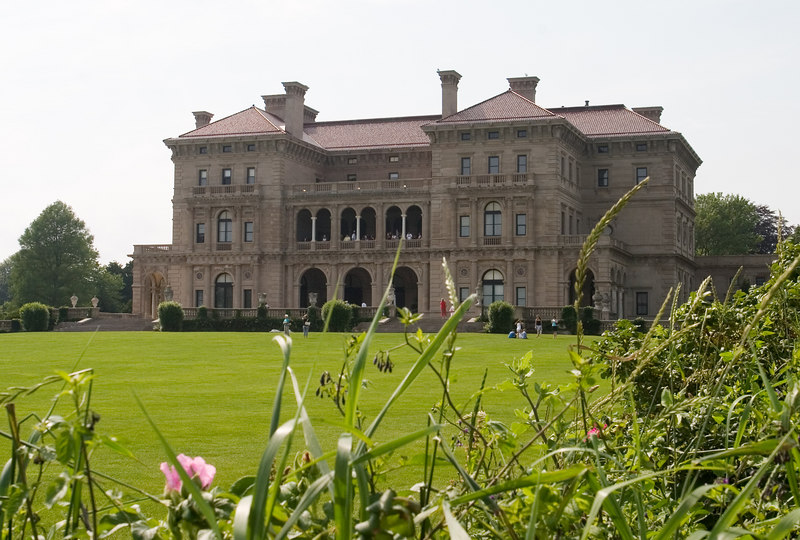 Approaching The Breakers, the most magnificent of the<br />  Newport mansions.  Cornelius Vanderbilt commissioned the house from<br />  Richard Morris Hunt in 1893 and it was completed in 1895.