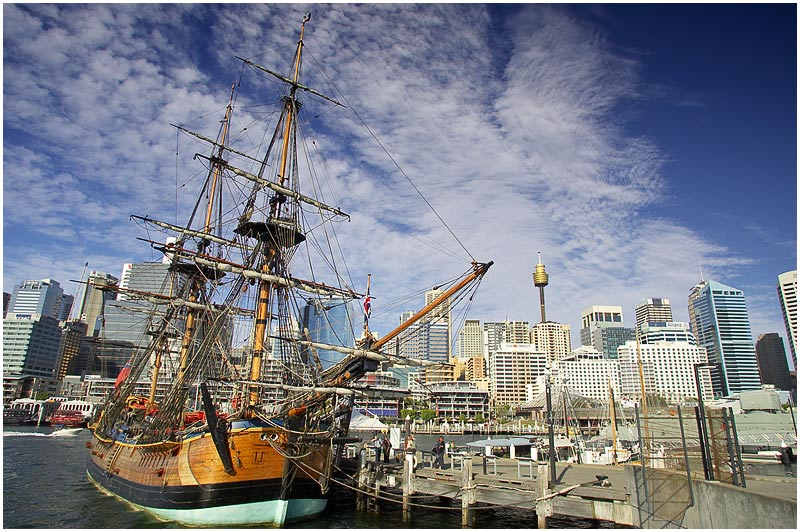 "National Maritime Museum, Darling Harbour, Tuesday November 21st 2006.  The replica of James Cook's ship HM Bark Endeavour is well worth a visit. You can really get the feel of how sailors lived in the 18th century. This ship is a highly accurate reproduction of the original ship that took Cook and his crew around the world between 1768 -1771 and which would lead to the first British settlement in Australia in 1788. This replica has twice sailed around the world. You can read about the original ship  <a href=""http://en.wikipedia.org/wiki/HM_Bark_Endeavour""target=""_blank""><strong><em>here</em></strong></a> and the building of the replica <a href=""http://www.anmm.gov.au/site/page.cfm?u=439""target=""_blank""><strong><em>here</em></strong></a>.  EXIF DATA  Canon 1D Mk II. EF 17-35mm f/2.8L@17mm 1/160s f/10 ISO 200."