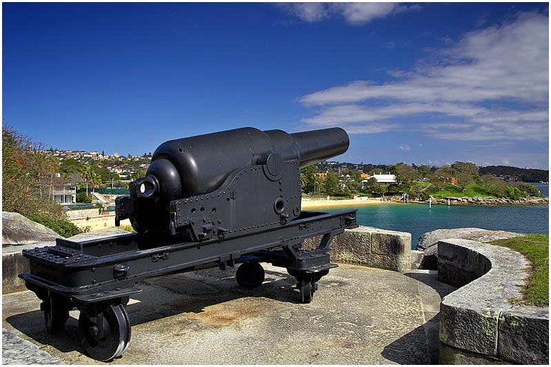 South Head, Tuesday October 3rd 2006. <br /> <br /> In 1872 six 9 inch Rifle Muzzle Loading Mark V Guns were brought to Sydney from the Royal Gun Factory in England as part of a general rearmament of the British Empire following the Crimean War. This is one of two now remaining. The other gun is located on Bare Island at Port Botany. <br /> <br /> <br /> EXIF DATA <br /> Canon 1D Mk II. EF 17-35 f/2.8L@26mm 1/200s f/9 ISO 200.