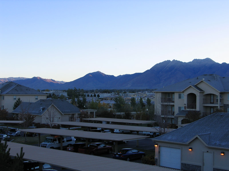 View from the balcony of Jen's temporary apartment in Sandy, Utah.