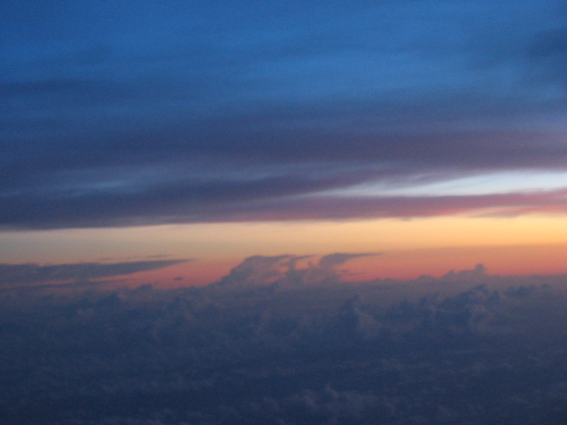 Sunrise gaining on us to Taipei where we had a 1 hour stop both ways
