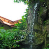 The waterfall that feeds the koi pond