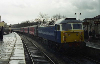 An unusual visitor to a familiar location... FM Rail's 47709 'Dionysos' pauses at Ramsbottom on the East Lancashire Railway with NENTA's 1Z44 0545 charter from Norwich to Rawtenstall (08/04/2006)