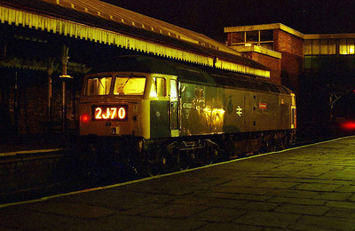 Last orders are being consumed in the 'Trackside' behind me after a hellfire trans-pennine pub-crawl as 47402 waits to take over the 0030 Heywood-Rawtenstall at Bury Bolton Street (19/03/2006)