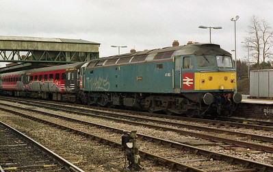 47853 waits time at Hereford with 1Z47. The loco and stock had been treated to a 'repaint' whilst stabled in the Longsight area the previous night (26/02/2006)