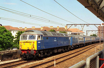 'Dionysos' brings up the rear of the train as 5Z48 passes Shadwell. The pair worked an evening dinner excursion over an identical route later that day (28/06/2006)