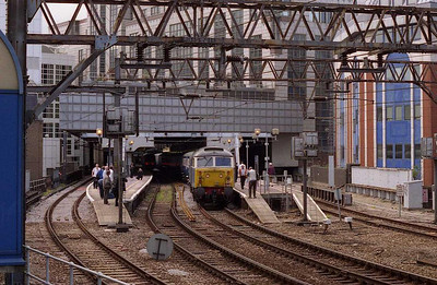 A scene captured for its rarity rather than its photographic merit: 47712 waits to depart from Fenchurch Street with the empty stock for East Ham after the train had returned from Shoeburyness (28/06/2006)