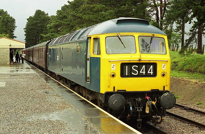 After a heavy shower, 47105 waits to depart from Cheltenham Race Course with the 1040 shuttle to Winchcombe on the second day of the GWR's 'Thomas' weekend (01/10/2006)