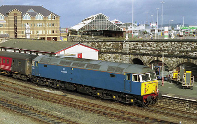 47709 'Dionysos' prepares to shunt the empty stock out of Holyhead station after arriving on the rear of NENTA's 1Z32 0520 charter from North Walsham. Out of sight is 47703, which had worked the train from Ely via Stamford, Castle Donington and Uttoxeter