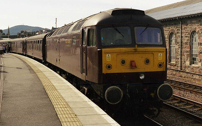 47245 waits to depart from Inverness with 1Z42 1515 return charter to Newcastle. Having missed the Aviemore set-down on the outward leg, the Pitlochry pick-up almost suffered the same fate on the way home, and the confusion led to a detour via Stirling a