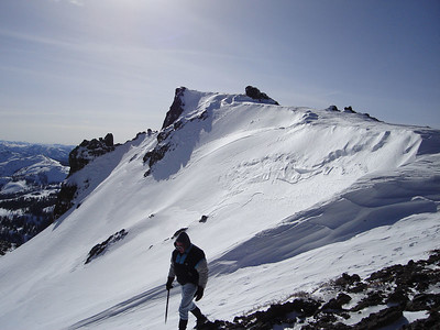 Traversing to the summit.