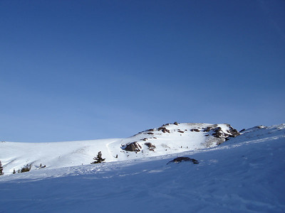 Looking up towards the false summit.